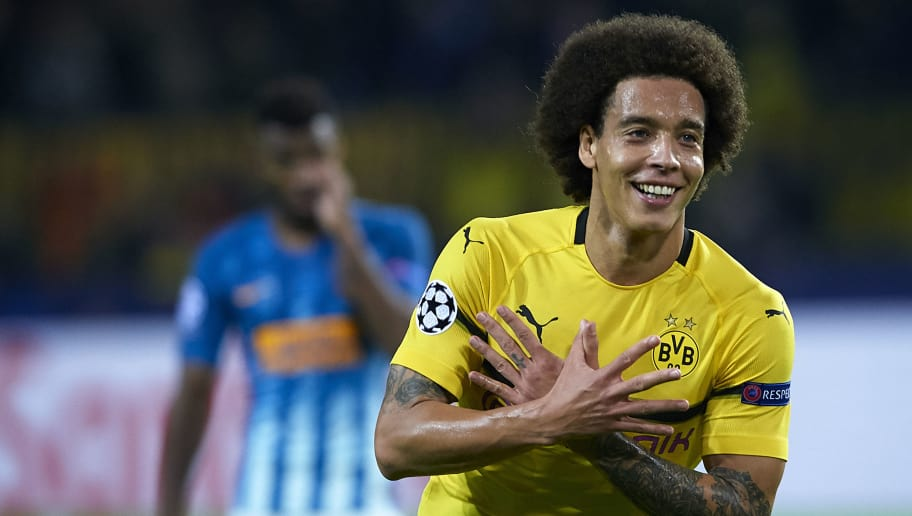 DORTMUND, GERMANY - OCTOBER 24:  Axel Witsel of Borussia Dortmund celebrates after scoring his team's first goal during the Group A match of the UEFA Champions League between Borussia Dortmund and Club Atletico de Madrid at Signal Iduna Park on October 24, 2018 in Dortmund, Germany.  (Photo by Quality Sport Images/Getty Images)