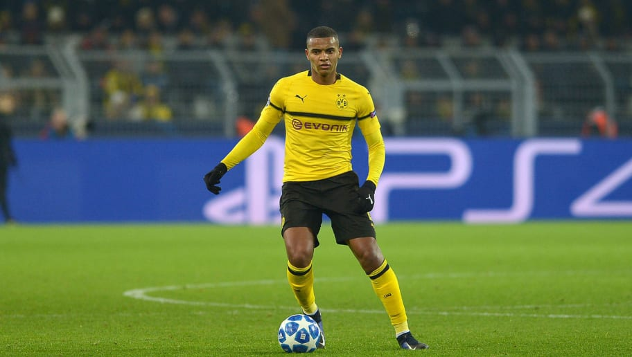 DORTMUND, GERMANY - NOVEMBER 28: Manuel Akanji of Dortmund controls the ball during the Group A match of the UEFA Champions League between Borussia Dortmund and Club Brugge at Signal Iduna Park on November 28, 2018 in Dortmund, Germany. (Photo by TF-Images/TF-Images via Getty Images)