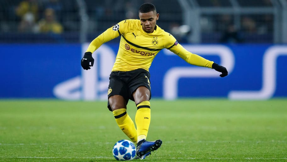 DORTMUND, GERMANY - NOVEMBER 28: Manuel Akanji of Dortmund runs with the ball during the Group A match of the UEFA Champions League between Borussia Dortmund and Club Brugge at Signal Iduna Park on November 28, 2018 in Dortmund, Germany. (Photo by Lars Baron/Bongarts/Getty Images,)