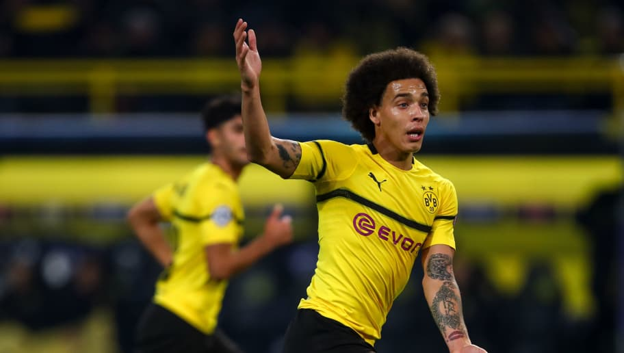 DORTMUND, GERMANY - NOVEMBER 28: Axel Witsel of Borussia Dortmund during the Group A match of the UEFA Champions League between Borussia Dortmund and Club Brugge at Signal Iduna Park on November 28, 2018 in Dortmund, Germany. (Photo by Robbie Jay Barratt - AMA/Getty Images)