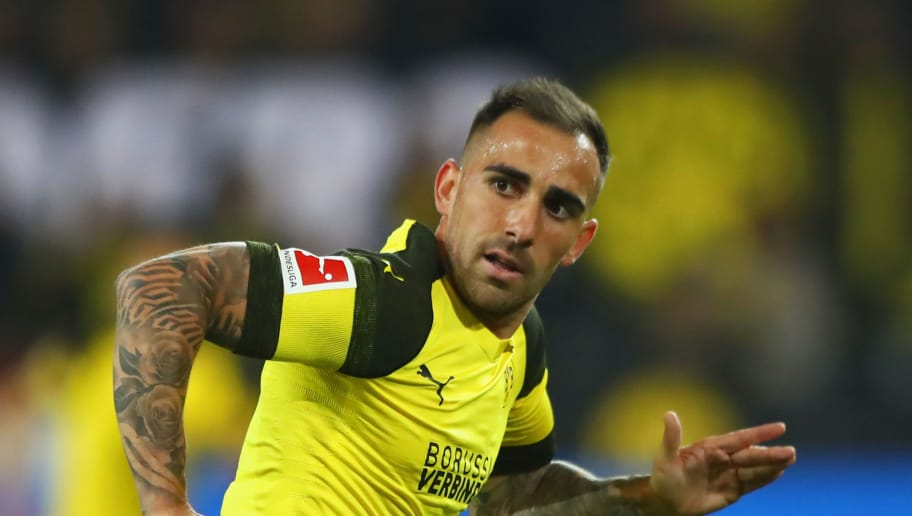 DORTMUND, GERMANY - SEPTEMBER 14:  Paco Alcacer of Borussia Dortmund in action during the Bundesliga match between Borussia Dortmund and Eintracht Frankfurt at Signal Iduna Park on September 14, 2018 in Dortmund, Germany.  (Photo by Martin Rose/Bongarts/Getty Images)