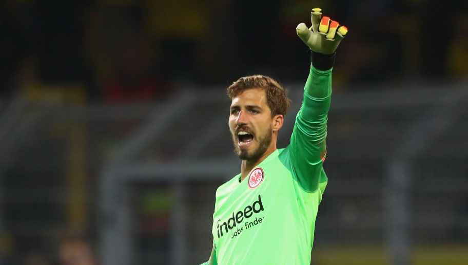 DORTMUND, GERMANY - SEPTEMBER 14:  Kevin Trapp of Eintracht Frankfurt shouts during the Bundesliga match between Borussia Dortmund and Eintracht Frankfurt at Signal Iduna Park on September 14, 2018 in Dortmund, Germany.  (Photo by Martin Rose/Bongarts/Getty Images)