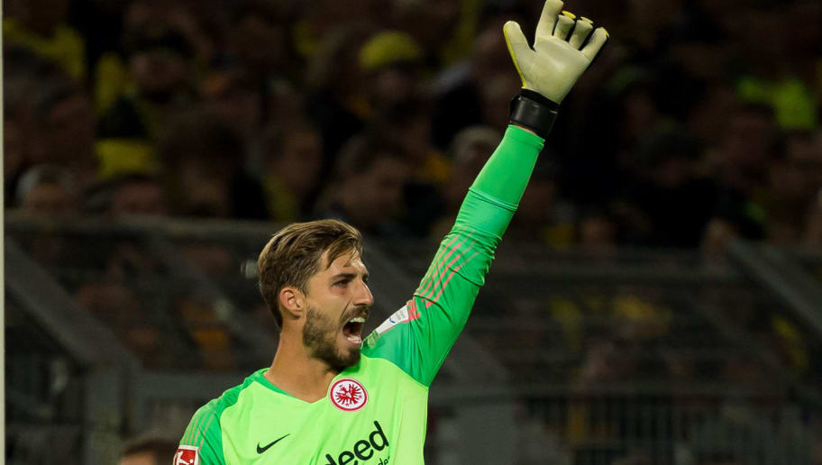 DORTMUND, GERMANY - SEPTEMBER 14: Goalkeeper Kevin Trapp of Eintracht Frankfurt gestures during the Bundesliga match between Borussia Dortmund and Eintracht Frankfurt on September 14, 2018 in Dortmund, Germany. (Photo by TF-Images/Getty Images)