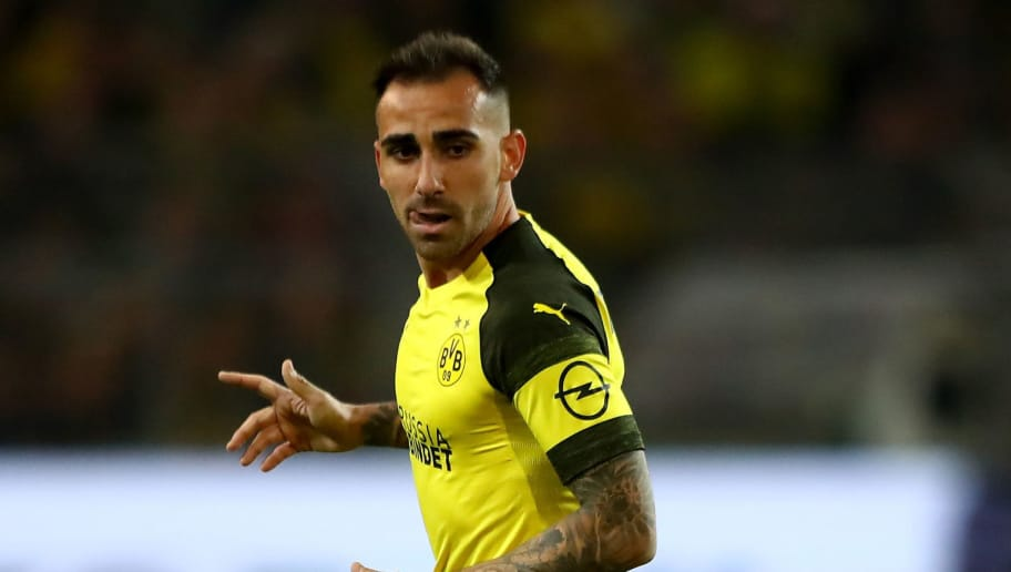 DORTMUND, GERMANY - SEPTEMBER 14:  Paco Alcacer of Dortmund runs during the Bundesliga match between Borussia Dortmund and Eintracht Frankfurt at Signal Iduna Park on September 14, 2018 in Dortmund, Germany.  (Photo by Martin Rose/Bongarts/Getty Images)