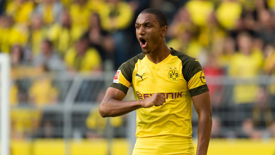 DORTMUND, GERMANY - OCTOBER 06: Abdou Diallo of Borussia Dortmund gestures during the Bundesliga match between Borussia Dortmund and FC Augsburg at Signal Iduna Park on October 6, 2018 in Dortmund, Germany. (Photo by TF-Images/Getty Images)