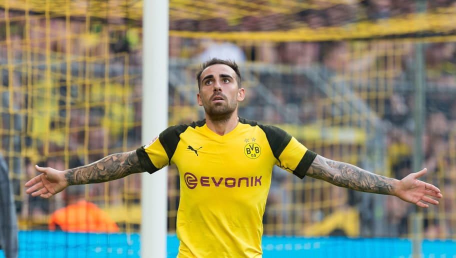 DORTMUND, GERMANY - OCTOBER 06: Paco Alcacer of Borussia Dortmund gestures during the Bundesliga match between Borussia Dortmund and FC Augsburg at Signal Iduna Park on October 6, 2018 in Dortmund, Germany. (Photo by TF-Images/Getty Images)