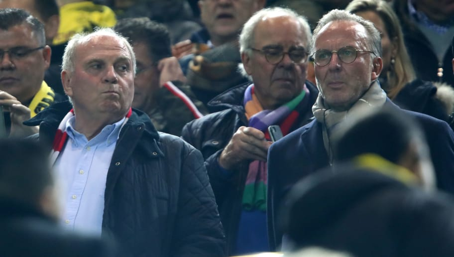 DORTMUND, GERMANY - NOVEMBER 10:  Bayern Muenchen President, Uli Hoeness, and Bayern Muenchen CEO, Karl-Heinz Rummenigge, look on from the stands prior to the Bundesliga match between Borussia Dortmund and FC Bayern Muenchen at Signal Iduna Park on November 10, 2018 in Dortmund, Germany.  (Photo by Alex Grimm/Bongarts/Getty Images)