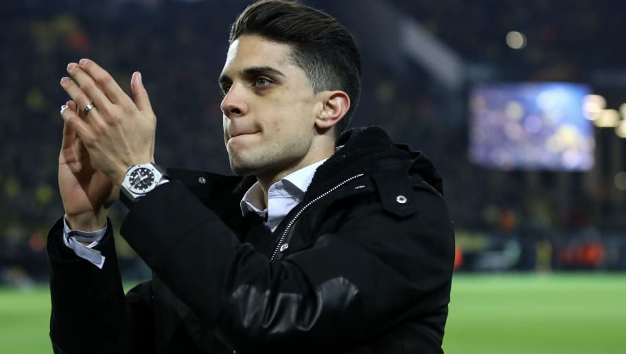 DORTMUND, GERMANY - MARCH 08: Marc Bartra says farewell to the fans prior to the UEFA Europa League Round of 16 match between Borussia Dortmund and FC Red Bull Salzburg at the Signal Iduna Park on March 8, 2018 in Dortmund, Germany. (Photo by Maja Hitij/Bongarts/Getty Images)