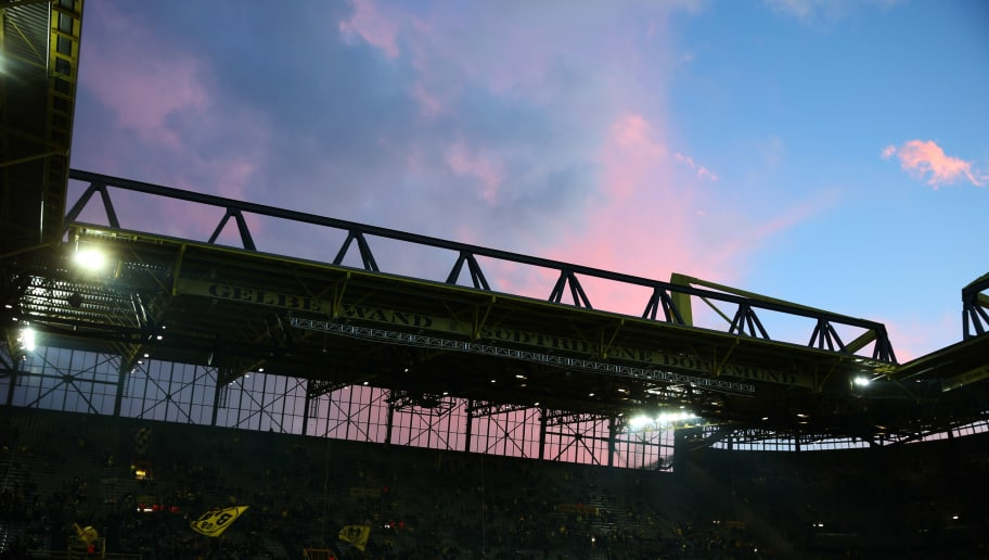 DORTMUND, GERMANY - MARCH 08:  A general view inside the stadium prior to the UEFA Europa League Round of 16 match between Borussia Dortmund and FC Red Bull Salzburg at the Signal Iduna Park on March 8, 2018 in Dortmund, Germany.  (Photo by Maja Hitij/Bongarts/Getty Images)