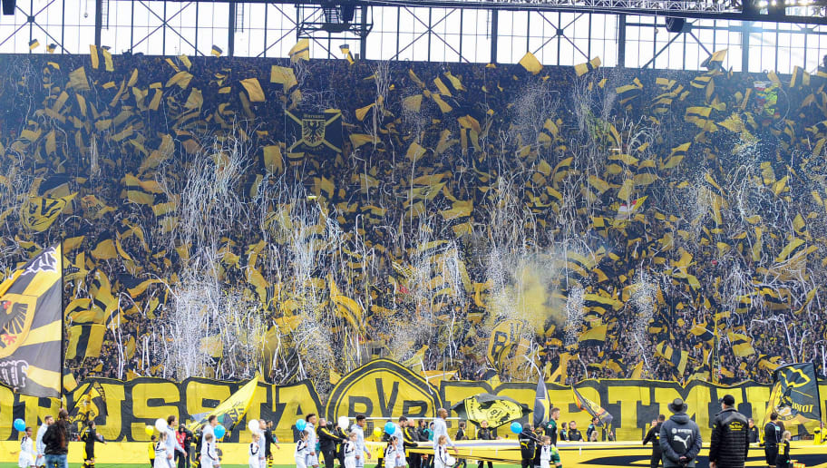 DORTMUND, GERMANY - NOVEMBER 25: The choreo of Borussia Dortmund's fans during the Bundesliga match between Borussia Dortmund and FC Schalke 04 at Signal Iduna Park on November 25, 2017 in Dortmund, Germany. (Photo by TF-Images/TF-Images via Getty Images)