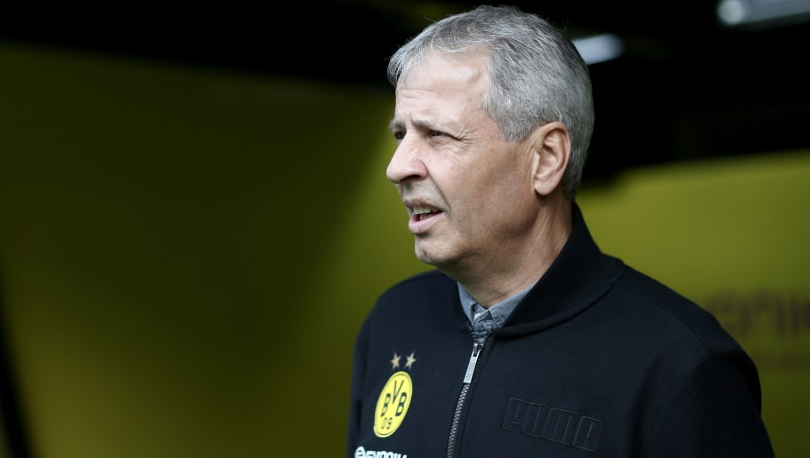 DORTMUND, GERMANY - OCTOBER 27: Head coach Lucien Favre of Dortmund looks on during the Bundesliga match between Borussia Dortmund and Hertha BSC at Signal Iduna Park on October 27, 2018 in Dortmund, Germany. The match between Dortmund and Berlin ended 2-2. (Photo by Christof Koepsel/Bongarts/Getty Images)