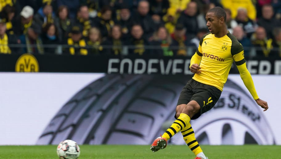 DORTMUND, GERMANY - OCTOBER 27: Abdou Diallo of Borussia Dortmund controls the ball during the Bundesliga match between Borussia Dortmund and Hertha BSC at Signal Iduna Park on October 27, 2018 in Dortmund, Germany. (Photo by TF-Images/Getty Images)