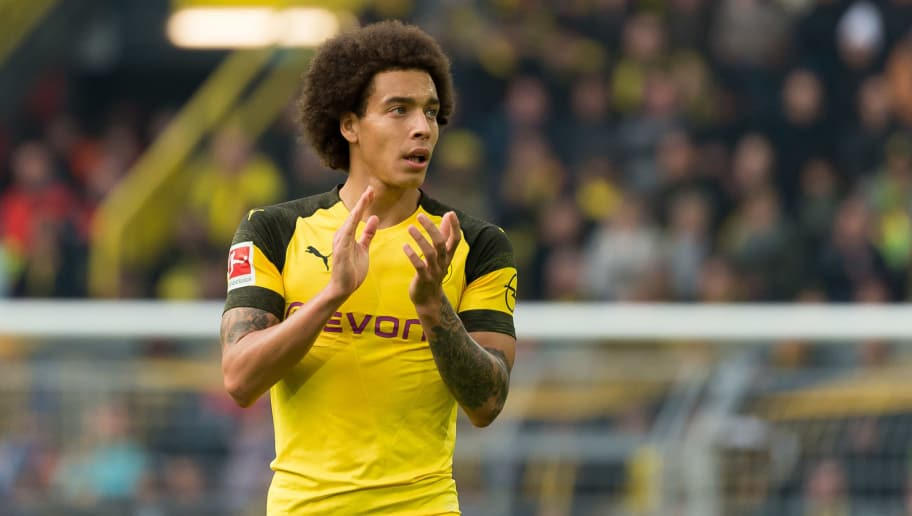 DORTMUND, GERMANY - OCTOBER 27: Axel Witsel of Borussia Dortmund gestures during the Bundesliga match between Borussia Dortmund and Hertha BSC at Signal Iduna Park on October 27, 2018 in Dortmund, Germany. (Photo by TF-Images/Getty Images)