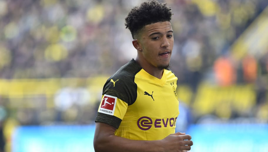 DORTMUND, GERMANY - OCTOBER 27: Jadon Sancho of Borussia Dortmund looks on during the Bundesliga match between Borussia Dortmund and Hertha BSC at Signal Iduna Park on October 27, 2018 in Dortmund, Germany. (Photo by TF-Images/Getty Images)