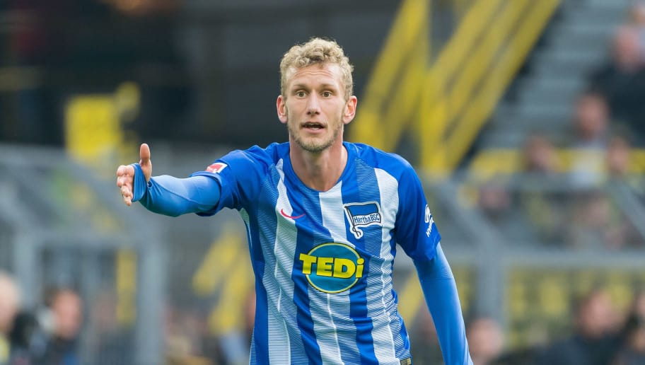 DORTMUND, GERMANY - OCTOBER 27: Fabian Lustenberger of Hertha BSC gestures during the Bundesliga match between Borussia Dortmund and Hertha BSC at Signal Iduna Park on October 27, 2018 in Dortmund, Germany. (Photo by TF-Images/Getty Images)