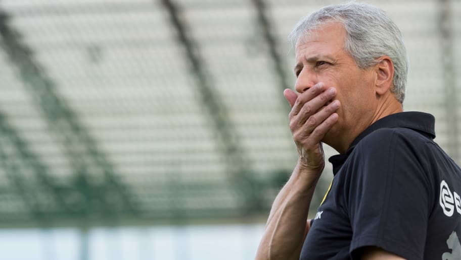 ESSEN, GERMANY - AUGUST 12: head coach Lucien Favre of Borussia Dortmund looks on during the friendly match between Borussia Dortmund and Lazio Rom on August 12, 2018 in Essen, Germany. (Photo by TF-Images/Getty Images)