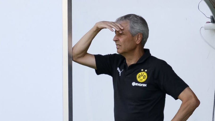 ESSEN, GERMANY - AUGUST 12: Head coach Lucien Favre of Dortmund looks on prior to the friendly match between Borussia Dortmund and Lazio on August 12, 2018 in Essen, Germany. (Photo by TF-Images/Getty Images)