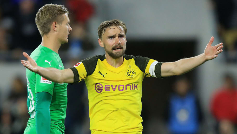 LOS ANGELES, CA - MAY 22:  Marcel Schmelzer #29 looks for an offside call as Dominik Reimann #35 of Borussia Dortmund looks on during the second half of an International friendly soccer match against the Los Angeles FC  at Banc of California Stadium on May 22, 2018 in Los Angeles, California.  (Photo by Sean M. Haffey/Getty Images)