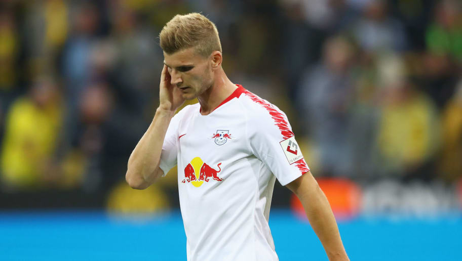 DORTMUND, GERMANY - AUGUST 26: Timo Werner of RB Leipzig looks dejected in defeat after during the Bundesliga match between Borussia Dortmund and RB Leipzig at Signal Iduna Park on August 26, 2018 in Dortmund, Germany.  (Photo by Martin Rose/Bongarts/Getty Images)