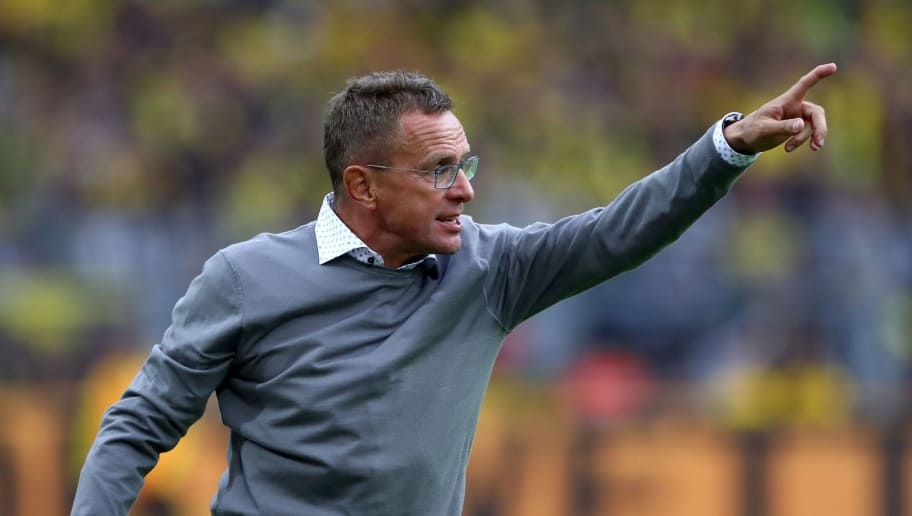 DORTMUND, GERMANY - AUGUST 26:  Ralf Rangnick, head coach of Leipzig gestures during the Bundesliga match between Borussia Dortmund and RB Leipzig at Signal Iduna Park on August 26, 2018 in Dortmund, Germany.  (Photo by Martin Rose/Bongarts/Getty Images)