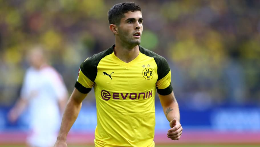 DORTMUND, GERMANY - AUGUST 26: Christian Pulisic of Dortmund gestures during the Bundesliga match between Borussia Dortmund and RB Leipzig at Signal Iduna Park on August 26, 2018 in Dortmund, Germany.  (Photo by Martin Rose/Bongarts/Getty Images)