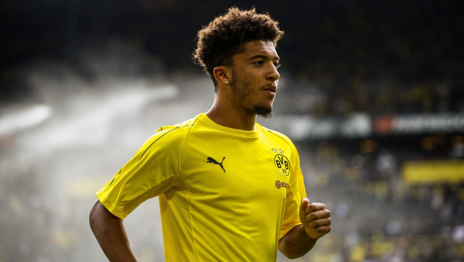 DORTMUND, GERMANY - AUGUST 26: Jadon Malik Sancho #7 of Borussia Dortmund looks on prior to the Bundesliga match between Borussia Dortmund and RB Leipzig at Signal Iduna Park on August 26, 2018 in Dortmund, Germany. (Photo by Maja Hitij/Bongarts/Getty Images)