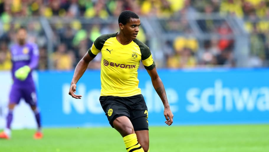 DORTMUND, GERMANY - AUGUST 26:  Manuel Akanji of Dortmund runs with the ball during the ball during the Bundesliga match between Borussia Dortmund and RB Leipzig at Signal Iduna Park on August 26, 2018 in Dortmund, Germany.  (Photo by Martin Rose/Bongarts/Getty Images)