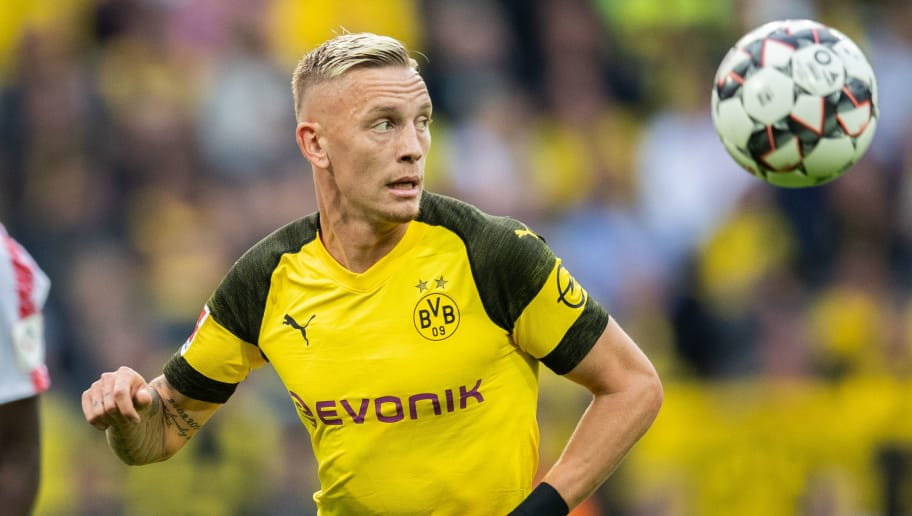 DORTMUND, GERMANY - AUGUST 26: Marius Wolf of Borussia Dortmund controls the ball during the Bundesliga match between Borussia Dortmund and RB Leipzig at Signal Iduna Park on August 26, 2018 in Dortmund, Germany. (Photo by Boris Streubel/Getty Images)