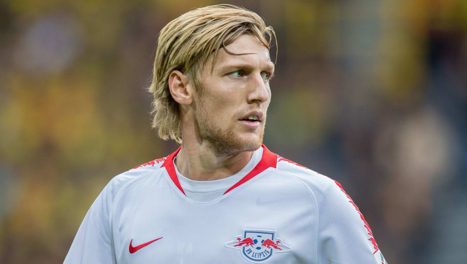 DORTMUND, GERMANY - AUGUST 26: Emil Forsberg of RB Leipzig looks on during the Bundesliga match between Borussia Dortmund and RB Leipzig at Signal Iduna Park on August 26, 2018 in Dortmund, Germany. (Photo by Boris Streubel/Getty Images)