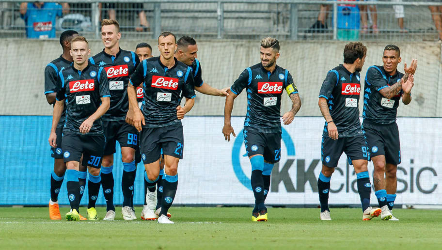 ST GALLEN, SWITZERLAND - AUGUST 07: Nikola Maksimovic of Napoli celebrates after scoring his team`s second goal with team mates during the friendly match between Borussia Dortmund and S.S.C. Napoli on August 7, 2018 in St Gallen, Switzerland. (Photo by TF-Images/Getty Images)