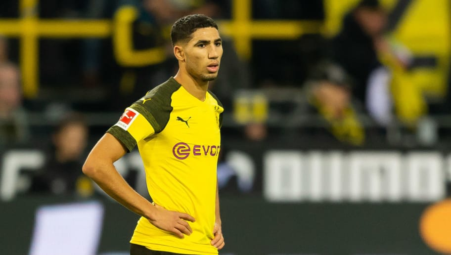 DORTMUND, GERMANY - DECEMBER 01: Achraf Hakimi of Dortmund looks on during the Bundesliga match between Borussia Dortmund and Sport-Club Freiburg at Signal Iduna Park on December 01, 2018 in Dortmund, Germany. (Photo by TF-Images/Getty Images)