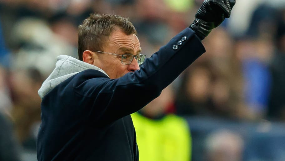 DORTMUND, GERMANY - DECEMBER 01: Head coach Ralf Rangnick of Leipzig gestures during the Bundesliga match between Borussia Dortmund and Sport-Club Freiburg at Signal Iduna Park on December 01, 2018 in Dortmund, Germany. (Photo by TF-Images/Getty Images)