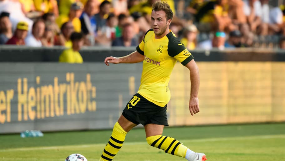 DORTMUND, GERMANY - AUGUST 03: Mario Goetze of Dortmund controls the ball during the friendly match between Borussia Dortmund and Stade Rennais at Cashpoint Arena on August 3, 2018 in Altach, Austria. (Photo by TF-Images/Getty Images)
