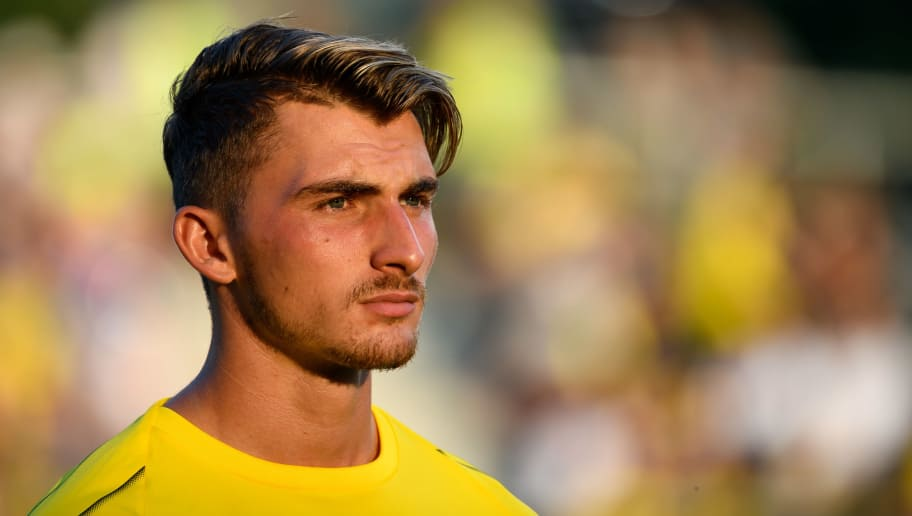 DORTMUND, GERMANY - AUGUST 03: Maximilian Philipp of Dortmund looks on prior to the friendly match between Borussia Dortmund and Stade Rennais at Cashpoint Arena on August 3, 2018 in Altach, Austria. (Photo by TF-Images/Getty Images)