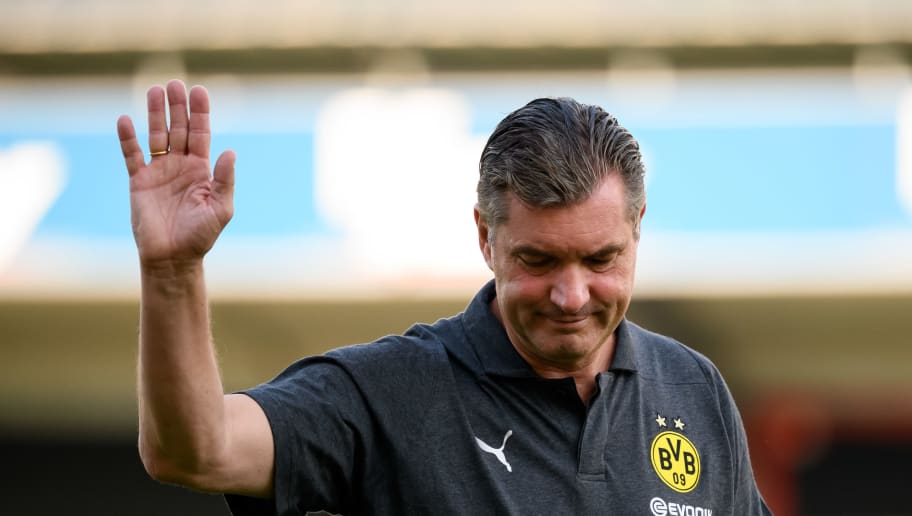 DORTMUND, GERMANY - AUGUST 03: Sporting director Michael Zorc of Dortmund gestures prior to the friendly match between Borussia Dortmund and Stade Rennais at Cashpoint Arena on August 3, 2018 in Altach, Austria. (Photo by TF-Images/Getty Images)