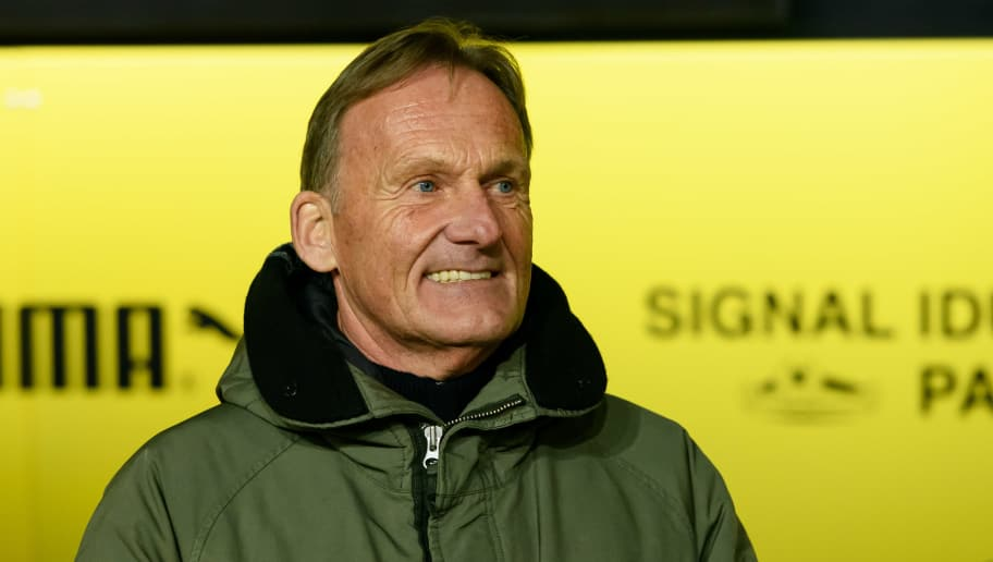 DORTMUND, GERMANY - DECEMBER 15: Hans-Joachim Watzke of Dortmund laughs during the Bundesliga match between Borussia Dortmund and SV Werder Bremen at the Signal Iduna Park on December 15, 2018 in Dortmund, Germany. (Photo by TF-Images/TF-Images via Getty Images)