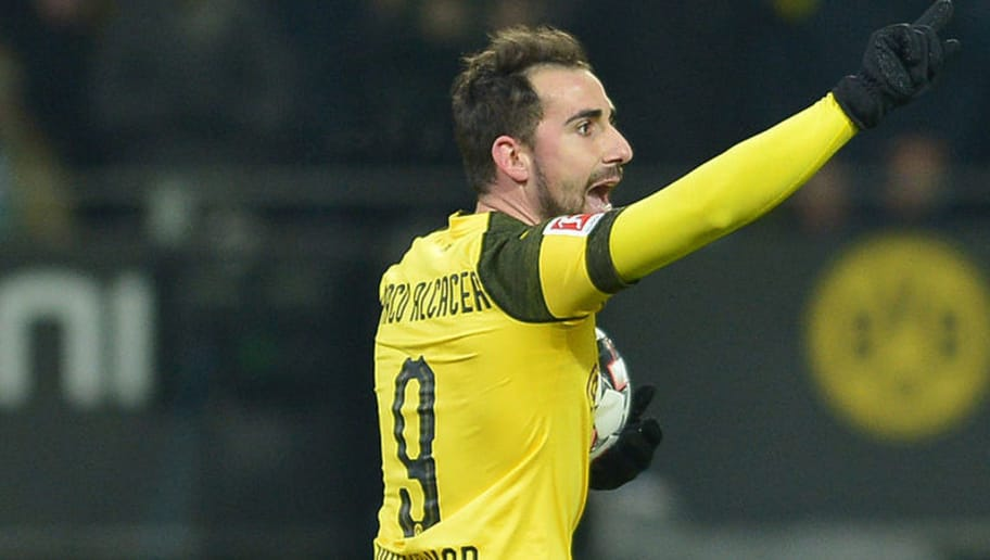 DORTMUND, GERMANY - DECEMBER 15: Paco Alcacer of Dortmund gestures during the Bundesliga match between Borussia Dortmund and SV Werder Bremen at the Signal Iduna Park on December 15, 2018 in Dortmund, Germany. (Photo by TF-Images/TF-Images via Getty Images)
