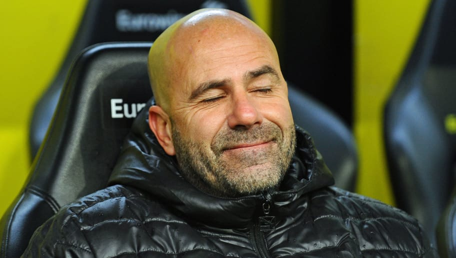 DORTMUND, GERMANY - DECEMBER 09: Head coach Peter Bosz of Dortmund looks on prior to the Bundesliga match between Borussia Dortmund and SV Werder Bremen at Signal Iduna Park on December 9, 2017 in Dortmund, Germany. (Photo by TF-Images/TF-Images via Getty Images)