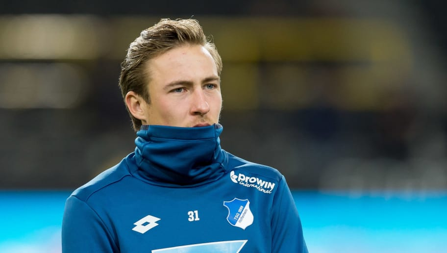 DORTMUND, GERMANY - DECEMBER 16: Felix Passlack of Hoffenheim looks on during the Bundesliga match between Borussia Dortmund and TSG 1899 Hoffenheim at Signal Iduna Park on December 16, 2017 in Dortmund, Germany. (Photo by TF-Images/TF-Images via Getty Images)
