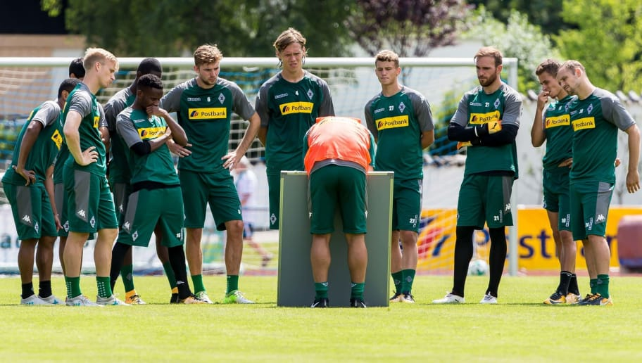 ROTTACH-EGERN, GERMANY - JULY 19: Head coach Dieter Hecking speak with the team during a training session at the Training Camp of Borussia Moenchengladbach on July 19, 2017 in Rottach-Egern, Germany. (Photo by TF-Images/TF-Images via Getty Images)77