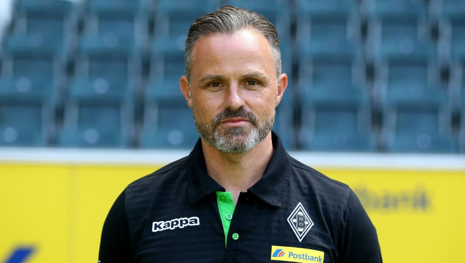 MOENCHENGLADBACH, GERMANY - AUGUST 01:  Rehabilitation coach Andreas Bluhm of Moenchengladbach poses during the team presentation of Borussia Moenchengladbach at Borussia-Park on August 1, 2016 in Moenchengladbach, Germany.  (Photo by Christof Koepsel/Bongarts/Getty Images)