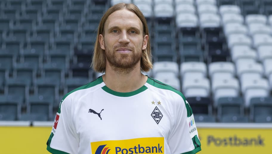 MOENCHENGLADBACH, GERMANY - AUGUST 02: Michael Lang of Borussia Moenchengladbach poses during the team presentation at Borussia Park on August 2, 2018 in Moenchengladbach, Germany. (Photo by Christof Koepsel/Bongarts/Getty Images)