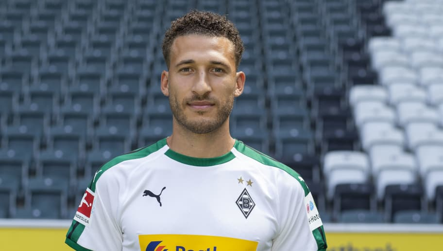 MOENCHENGLADBACH, GERMANY - AUGUST 02: Fabian Johnson of Borussia Moenchengladbach poses during the team presentation at Borussia Park on August 2, 2018 in Moenchengladbach, Germany. (Photo by Christof Koepsel/Bongarts/Getty Images)