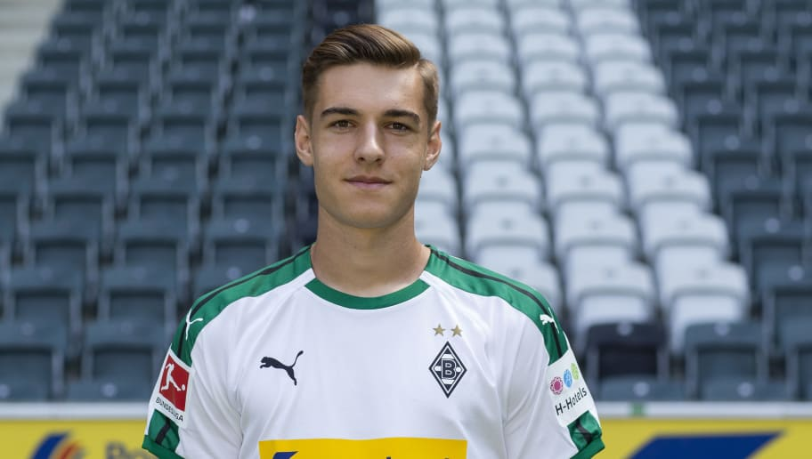 MOENCHENGLADBACH, GERMANY - AUGUST 02: Florian Neuhaus of Borussia Moenchengladbach poses during the team presentation at Borussia Park on August 2, 2018 in Moenchengladbach, Germany. (Photo by Christof Koepsel/Bongarts/Getty Images)