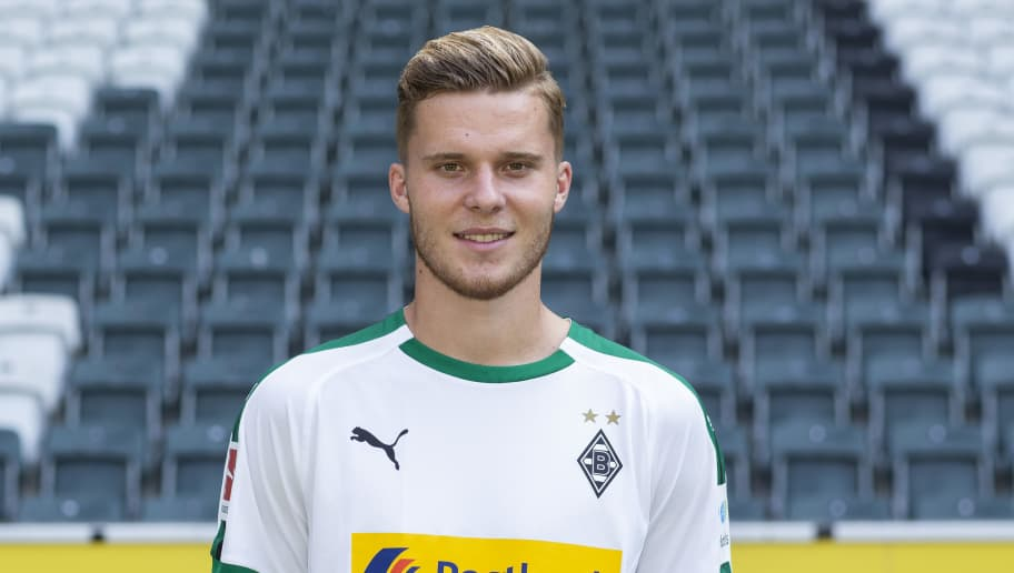 MOENCHENGLADBACH, GERMANY - AUGUST 02: Nico Elvedi of Borussia Moenchengladbach poses during the team presentation at Borussia Park on August 2, 2018 in Moenchengladbach, Germany. (Photo by Christof Koepsel/Bongarts/Getty Images)