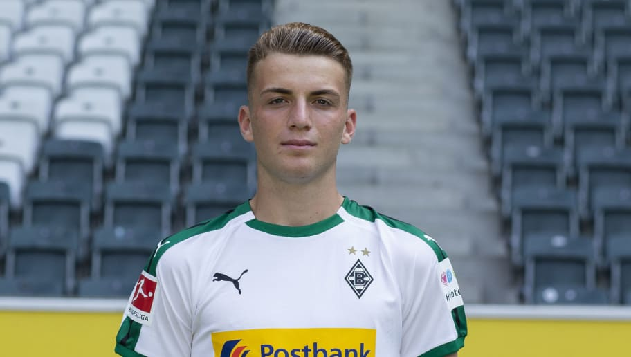MOENCHENGLADBACH, GERMANY - AUGUST 02: Louis Jordan Beyer of Borussia Moenchengladbach poses during the team presentation at Borussia Park on August 2, 2018 in Moenchengladbach, Germany. (Photo by Christof Koepsel/Bongarts/Getty Images)