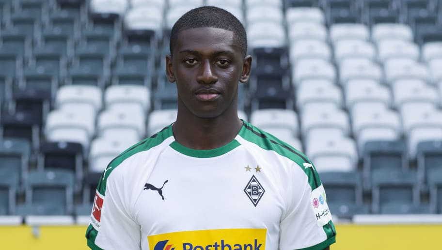 MOENCHENGLADBACH, GERMANY - AUGUST 02: Mamadou Doucoure of Borussia Moenchengladbach poses during the team presentation at Borussia Park on August 2, 2018 in Moenchengladbach, Germany. (Photo by Christof Koepsel/Bongarts/Getty Images)