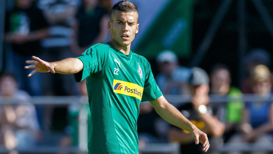 ROTTACH-EGERN, GERMANY - JULY 24: Laszlo Benes of Borussia Moenchengladbach gestures during the Borussia Moenchengladbach training camp on July 24, 2018 in Rottach-Egern, Germany. (Photo by TF-Images/Getty Images)