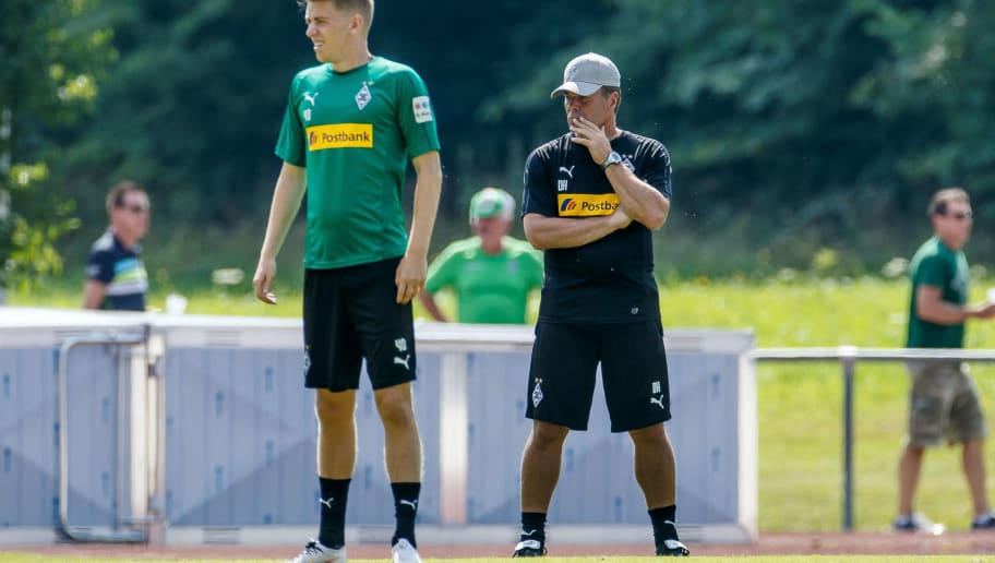 ROTTACH-EGERN, GERMANY - JULY 25: Head coach Dieter Hecking of Moenchengladbach looks on during the Borussia Moenchengladbach training camp on July 25, 2018 in Rottach-Egern, Germany. (Photo by TF-Images/Getty Images)