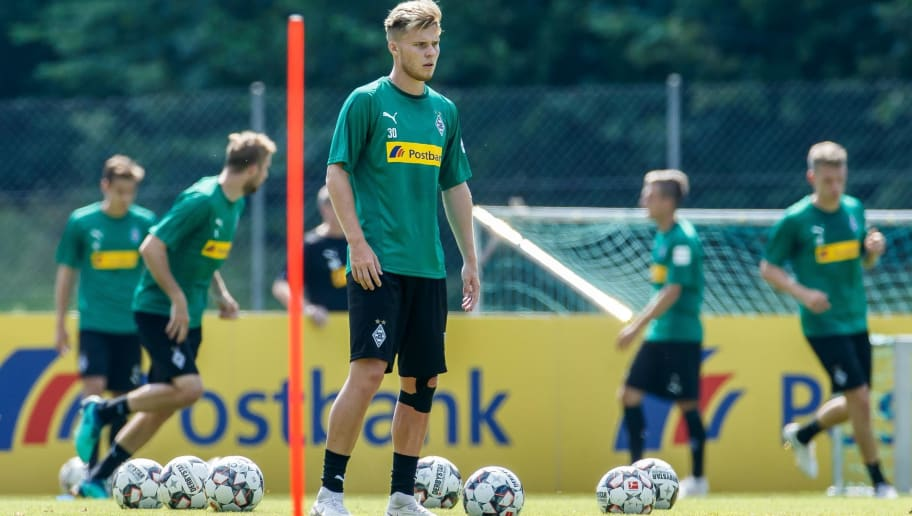 ROTTACH-EGERN, GERMANY - JULY 25: Nico Elvedi of Moenchengladbach looks on during the Borussia Moenchengladbach training camp on July 25, 2018 in Rottach-Egern, Germany. (Photo by TF-Images/Getty Images)